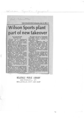 Wilson Sports plant part of new takeover