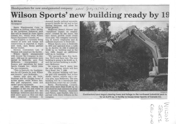 Wilson Sports' new building ready by 1998