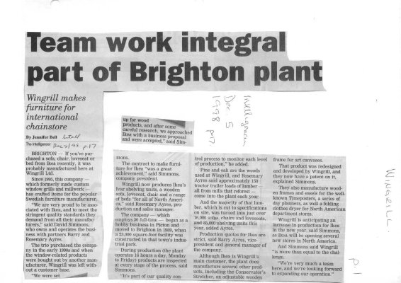 Team work integral part of Brighton plant