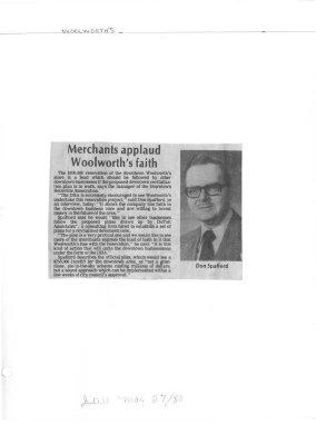 Merchants applaud Woolworth's faith