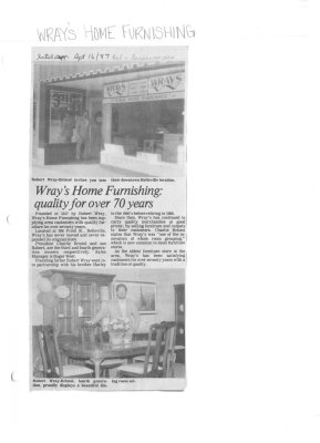 Wray's Home Furnishing: quality for over 70 years