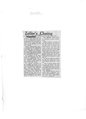 Zeller's Closing