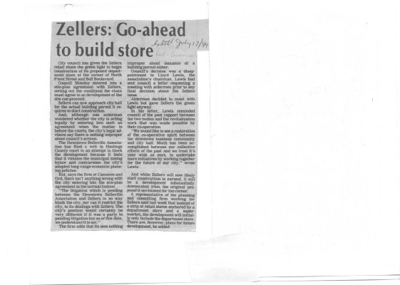 Zellers: Go-ahead to build store