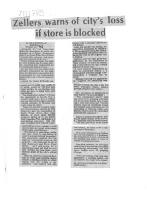 Zellers warns of city's loss if store is blocked