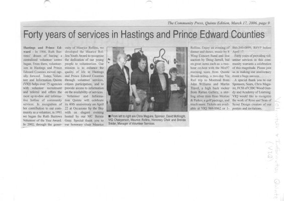 Forty years of services in Hastings and Prince Edward Counties