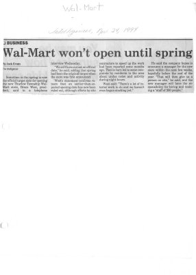 Wal-Mart won't open until spring