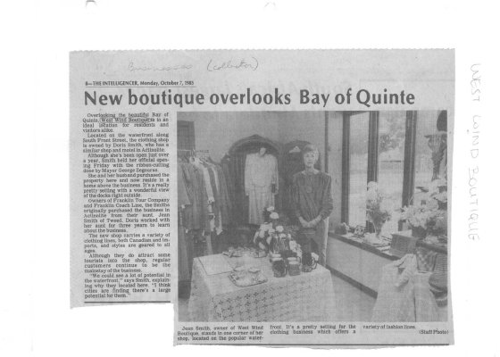 New boutique overlooks Bay of Quinte