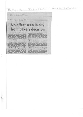 No effect seen in city from bakery decision