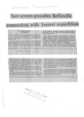 Sun screen provides Belleville connection with Everest expedition