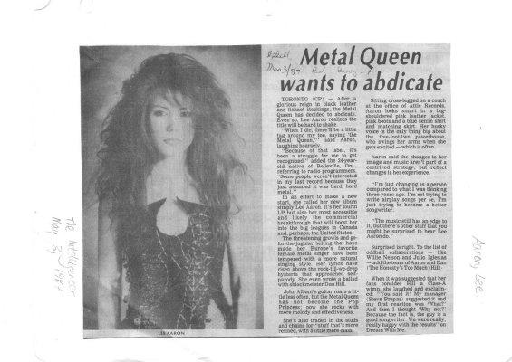Metal Queen wants to abdicate