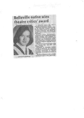 Belleville native wins theatre critics' award
