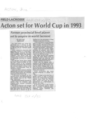 Field Lacrosse - Acton set for World Cup in 1993