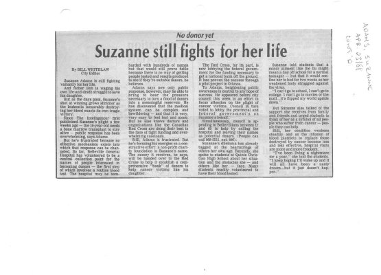 Suzanne still fights for her life