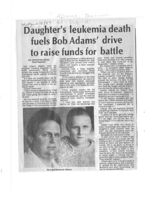 Daughter's leukemia death fuels Bob Adams' drive to raise funds for battle