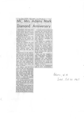Mr., Mrs. Adams mark diamond Anniversary