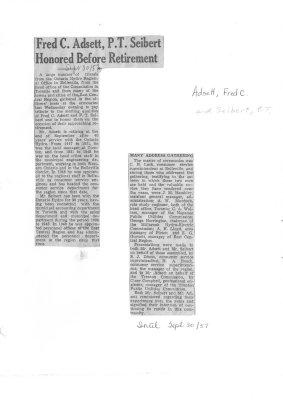 Fred C. Adsett, P.T. Seibert honored before retirement