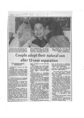 Couple adopt their natural son after 12-year separation