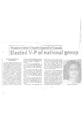 Women's Inter-Church Council of Canada: Elected V-P of national group