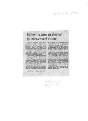 Belleville woman elected to inter-church council
