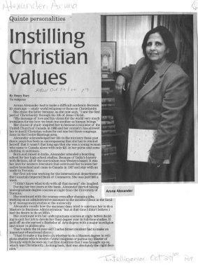 Instilling Christian values