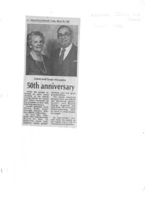 James and Grace Alexander: 50th Anniversary