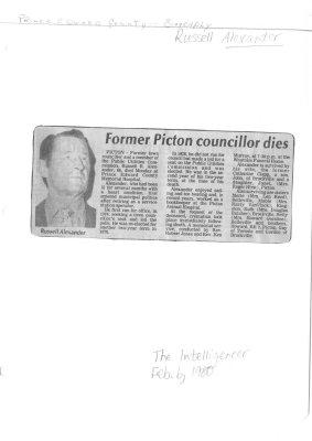 Former Picton councillor dies