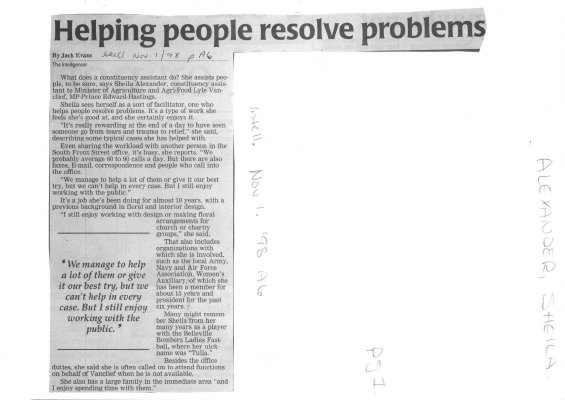 Helping people resolve problems