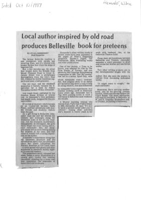 Local author inspired by old road produces Belleville book for preteens