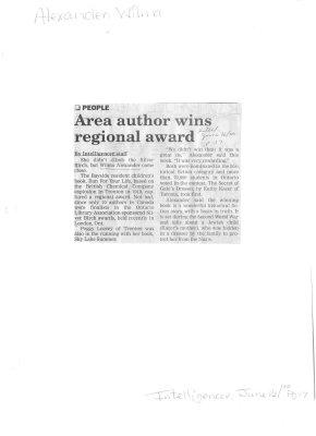 Area author wins regional award