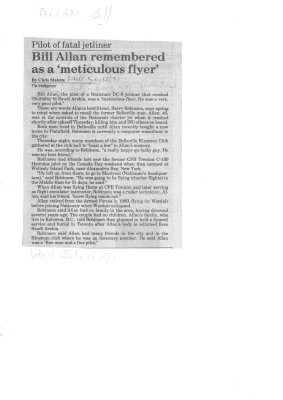 Pilot of fatal jetliner: Bill Allan remembered as a meticulous flyer