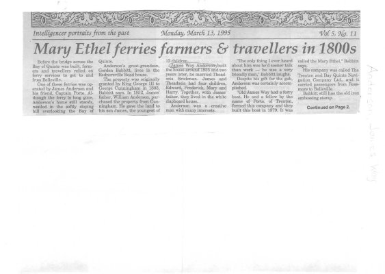 Mary Ethel ferries farmers & travellers in 1800s
