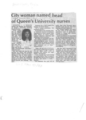 City woman named head of Queen's University nurses