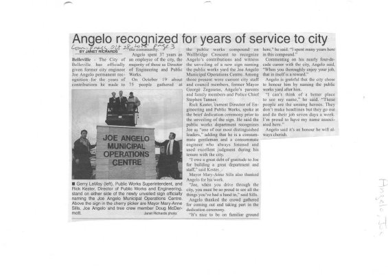 Angelo recognized for years of service to city