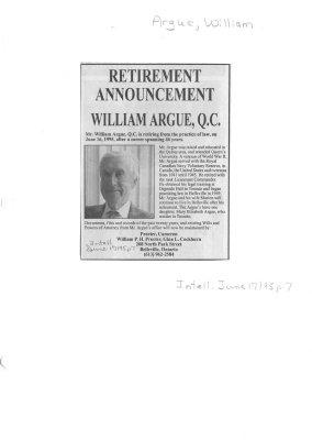Retirement Announcement: William Argue, Q.C.