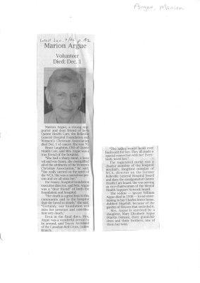 Marion Argue: Volunteer Died: Dec. 1