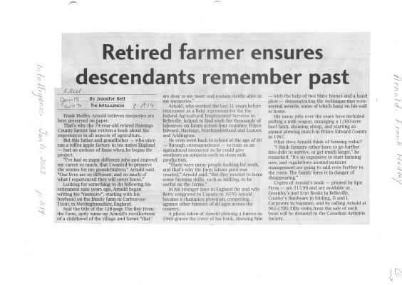 Retired farmer ensures descendants remember past