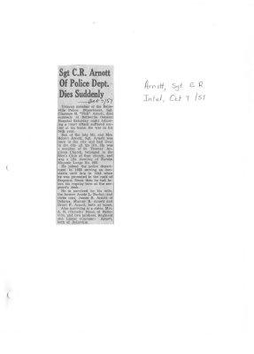Sgt C. R. Arnott of Police Dept. Dies Suddenly