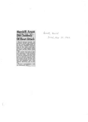 Harold R. Arnott Dies Suddenly of Heart Attack