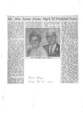 Mr., Mrs. James Atyeo Mark 50 Wedded Years