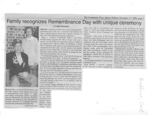 Family recognized Remembrance Day with unique ceremony