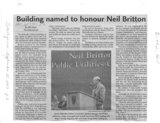 Building named to honour Neil Britton