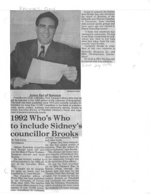 1992 Who's Who to include Sidney's councillor Brooks