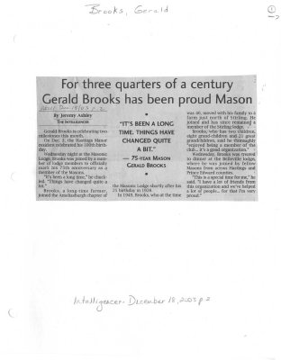 For three quarters of a century Gerald Brooks has been proud Mason