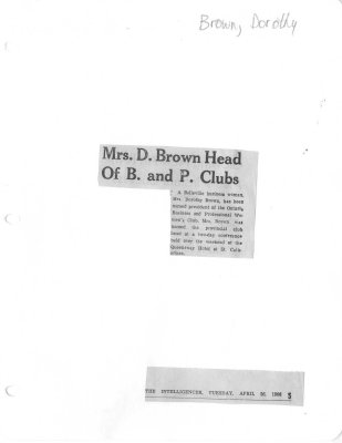 Mrs. D. Brown Head Of B. and P. Clubs