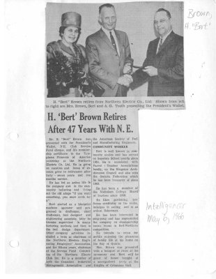 H. 'Bert' Brown Retires After 47 Years With N. E.