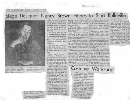 Stage Designer Nancy Brown Hopes to Start Belleville Costume Workshop
