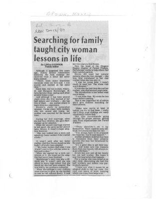 Searching for family taught city woman lessons in life