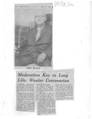Moderation Key to Long Life: Wooler Centenarian