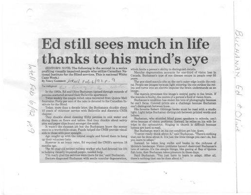 Ed still sees much in life thanks to his mind's eye