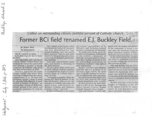 Former BCI field renamed E. J. Buckley Field